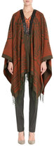 Etro Printed Cashmere Cape with Leather