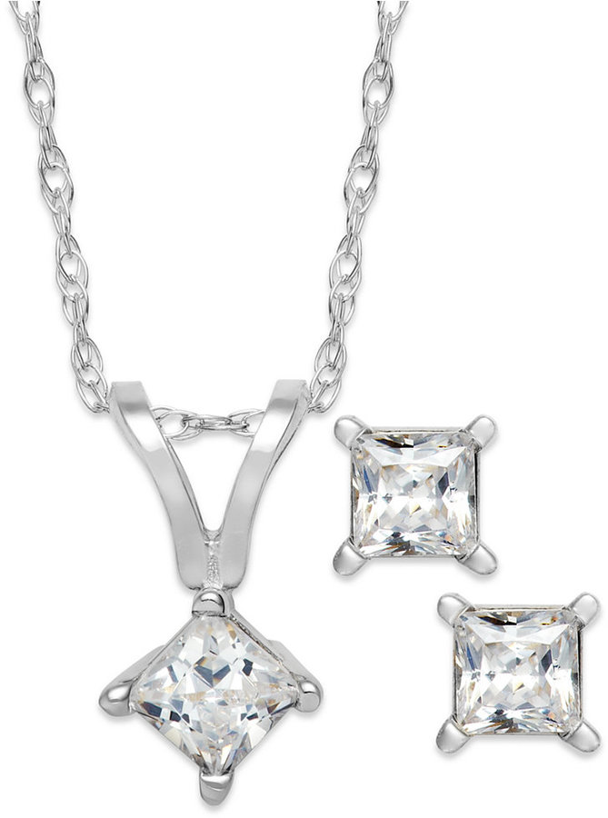 Princess-Cut Diamond Pendant Necklace and Earrings Set in 10k White Gold (1/4 ct. t.w.)