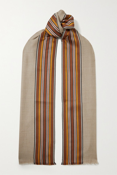 Loro Piana The Suitcase Stripe Fringed Silk And Cashmere-blend Scarf - Beige