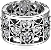 King Baby Studio Heart Patterned with Cubic-Zirconia Stones Ring, Size 6