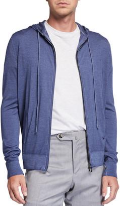 Isaia Men's Marl Denim-Effect Wool Zip Hoodie