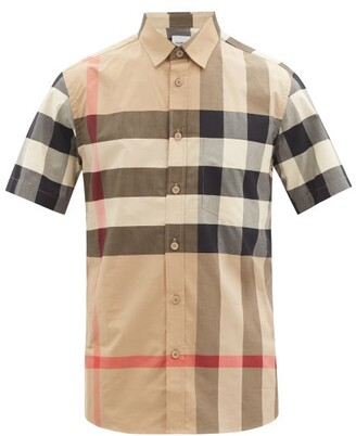 Burberry Somerton Macro-check Cotton-blend Shirt - Beige