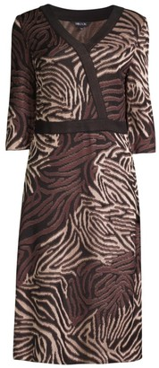Misook Tiger Swirl Faux Wrap Knit Dress