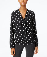 NY Collection Polka-Dot Tie-Neck Faux-Wrap Top