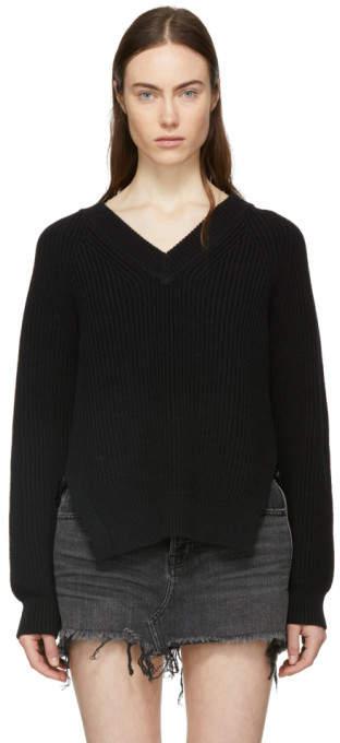 Alexander Wang Black Visible Strap V-Neck Sweater