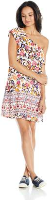 My Michelle Women's Ruffle One Shoulder Printed Dress