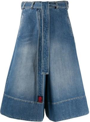 Lanvin Tied-Waist Denim Skirt