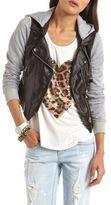Charlotte Russe Knit Sleeve PU Motorcycle Jacket