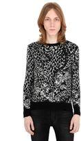 Saint Laurent Mohair Blend Jacquard Knit Sweater
