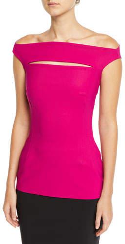 Chiara Boni Karen Slit-Front Off-the-Shoulder Top