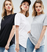 Asos Ultimate Curved Hem Boyfriend 3 Pack T-Shirt