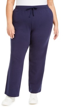 Karen Scott Plus Size Knit Drawstring Pants, Created for Macy's