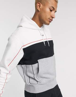 adidas Rivalry hoodie in grey-White