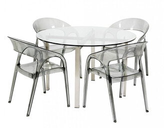 R & V Living Reflective Dining Table Round Clear Glass