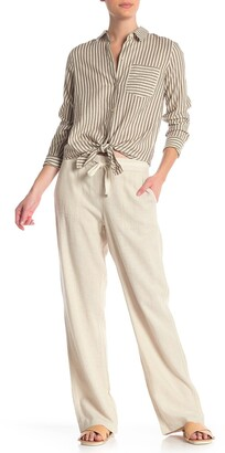 Caslon Yarn Dye Striped Linen Blend Pants
