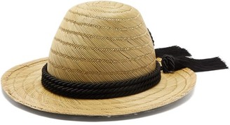 Gucci Passementerie-trim Straw Hat - Womens - Black
