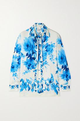 Valentino Floral-print Silk-twill Shirt - White
