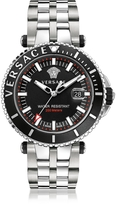 Versace V-Race Diver Stainless Steel Men's Watch w/Black Dial