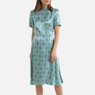 La Redoute Collections Satin Feel Midi Dress in Polka Dot Print with Short Sleeves