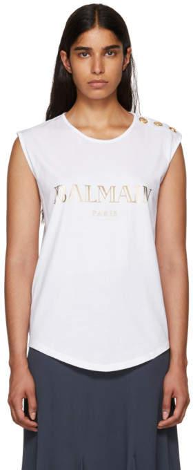 Balmain White Sleeveless T-Shirt
