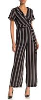 June & Hudson Striped Short Sleeve Tie Waist Jumpsuit
