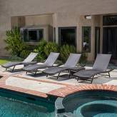 Eliana Outdoor 6pc Brown Wicker Chaise Lounge Chairs Set