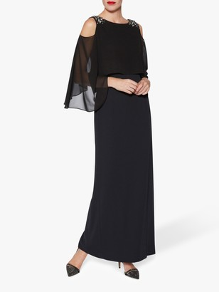 Gina Bacconi Penelope Beaded Cold Shoulder Maxi Dress