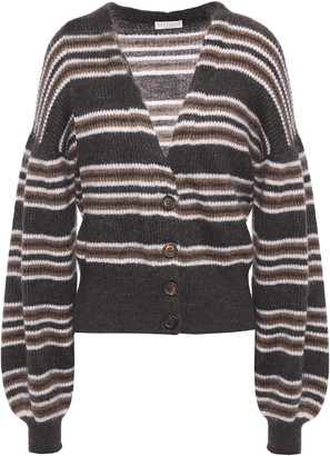 Brunello Cucinelli Striped Metallic Brushed Ribbed-knit Cardigan
