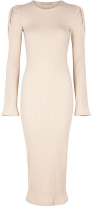Maggie Marilyn Knot On My Watch ribbed cotton-blend midi dress
