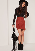 Missguided Burgundy Faux Suede Stitch Front A-Line Mini Skirt