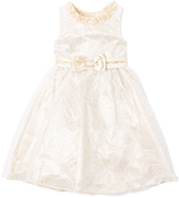 Nannette Champagne Bow-Accent A-Line Dress - Girls