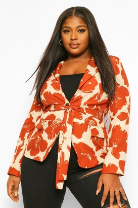 boohoo Plus Smudge Brush Print Belted Blazer