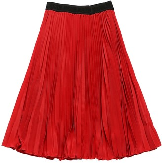 MSGM Long Pleated Crepe Skirt