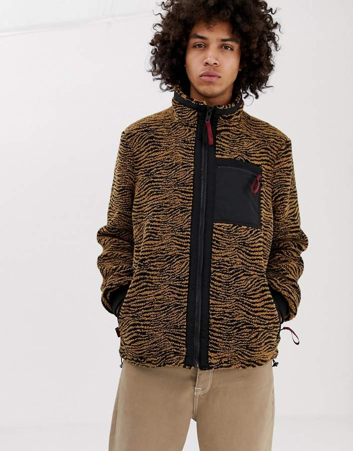 Asos Design DESIGN fleece zip through jacket in zebra borg