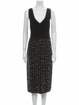 Lela Rose Plunge Neckline Midi Length Dress w/ Tags Rose