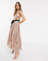 Forever U cami strap sequin dress with bow detail in rose gold