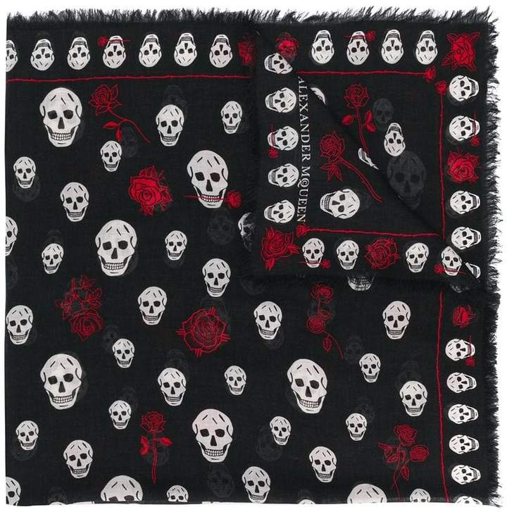 Alexander McQueen skull and rose print scarf