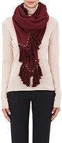 Chloé Women's Pompon Wool-Blend Scarf-BURGUNDY