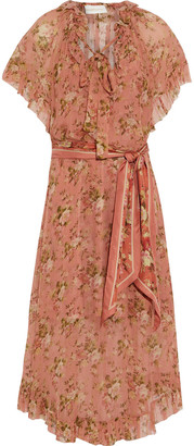 Zimmermann Espionage Frilled Tie-neck Floral-print Silk-georgette Midi Dress