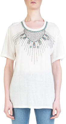 The Kooples Short-Sleeve T-Shirt with Jewel Plastron