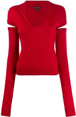 Romeo Gigli Pre-Owned 1990s knitted V-neck detachable sleeves top