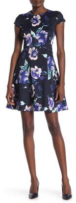 Vince Camuto Floral Short Sleeve Scuba Dress