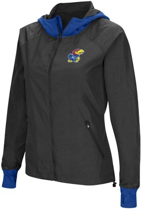Colosseum Women's Charcoal/Royal Kansas Jayhawks Backside Hooded Full-Zip Windbreaker Jacket