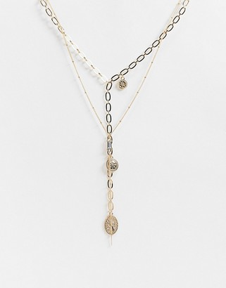 ASOS DESIGN multirow lariat necklace with coin pendants and dot dash chain in gold tone