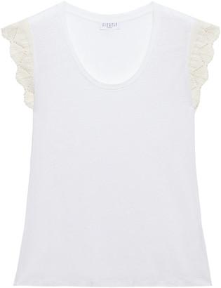 Claudie Pierlot Cotton Crochet-trimmed Linen-jersey T-shirt