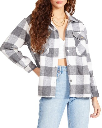 Steve Madden Plaid Shacket Grey Multi