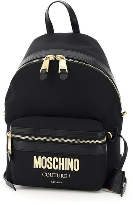 Moschino Logo Plaque Zipped Backpack