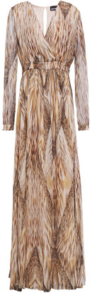 Just Cavalli Wrap-effect Gathered Printed Chiffon Gown