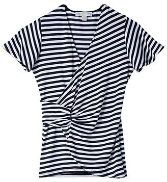 MICHAEL Michael Kors Stripe Twist Flutter Top (White) Women's T Shirt