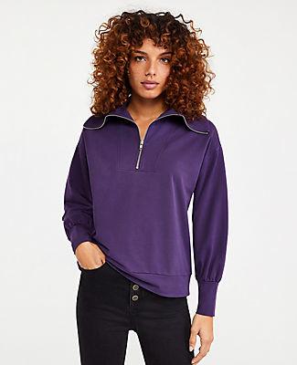 Ann Taylor Zip Collar Sweatshirt